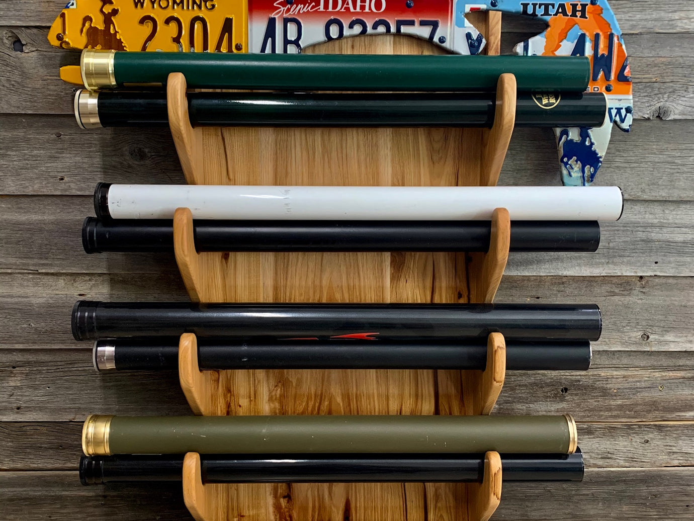 Custom Trout Rod Rack - Hickory