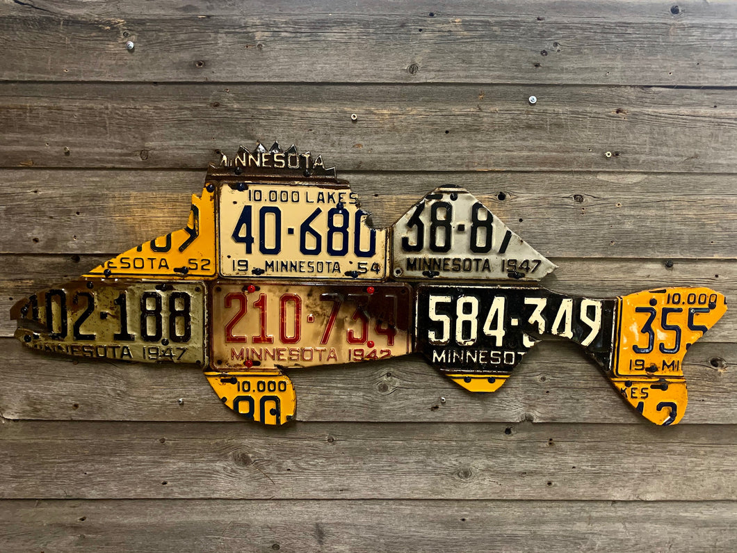 Minnesota Antique Walleye License Plate Art