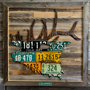 Antique Colorado Elk License Plate Art