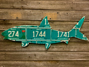 Bahamas '90s Vintage Bonefish License Plate Art