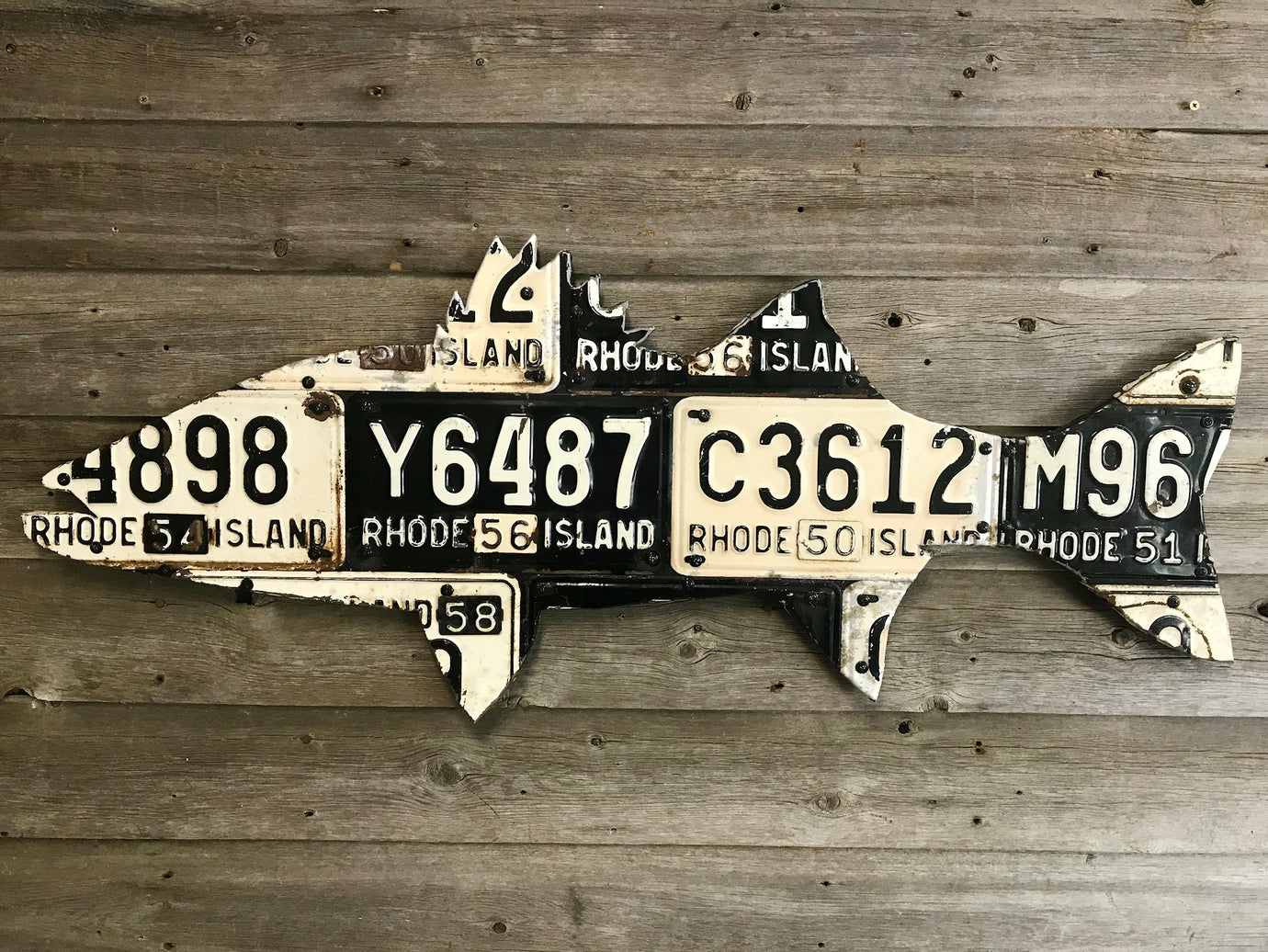 Rhode Island Striped Bass License Plate Art
