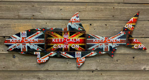 """Keep Calm and Carry On"" Bonefish License Plate Art"