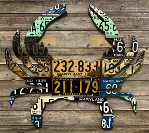 Maryland Blue Crab Vintage License Plate Art