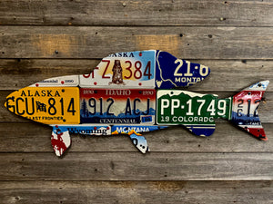 Mixed Western Grayling License Plate Art