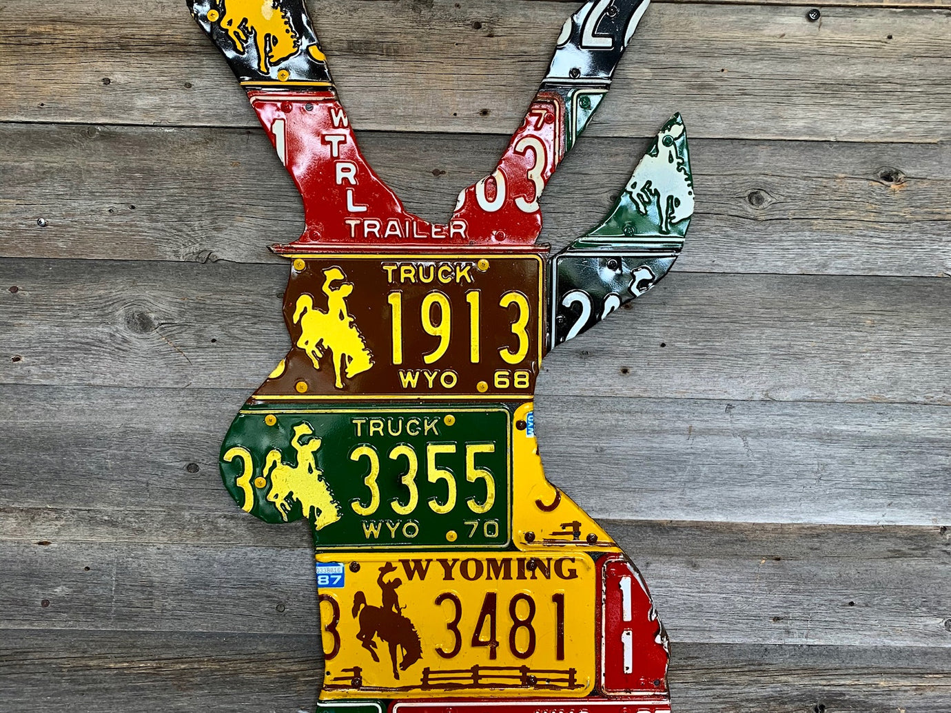 Wyoming Pronghorn Antelope License Plate Art