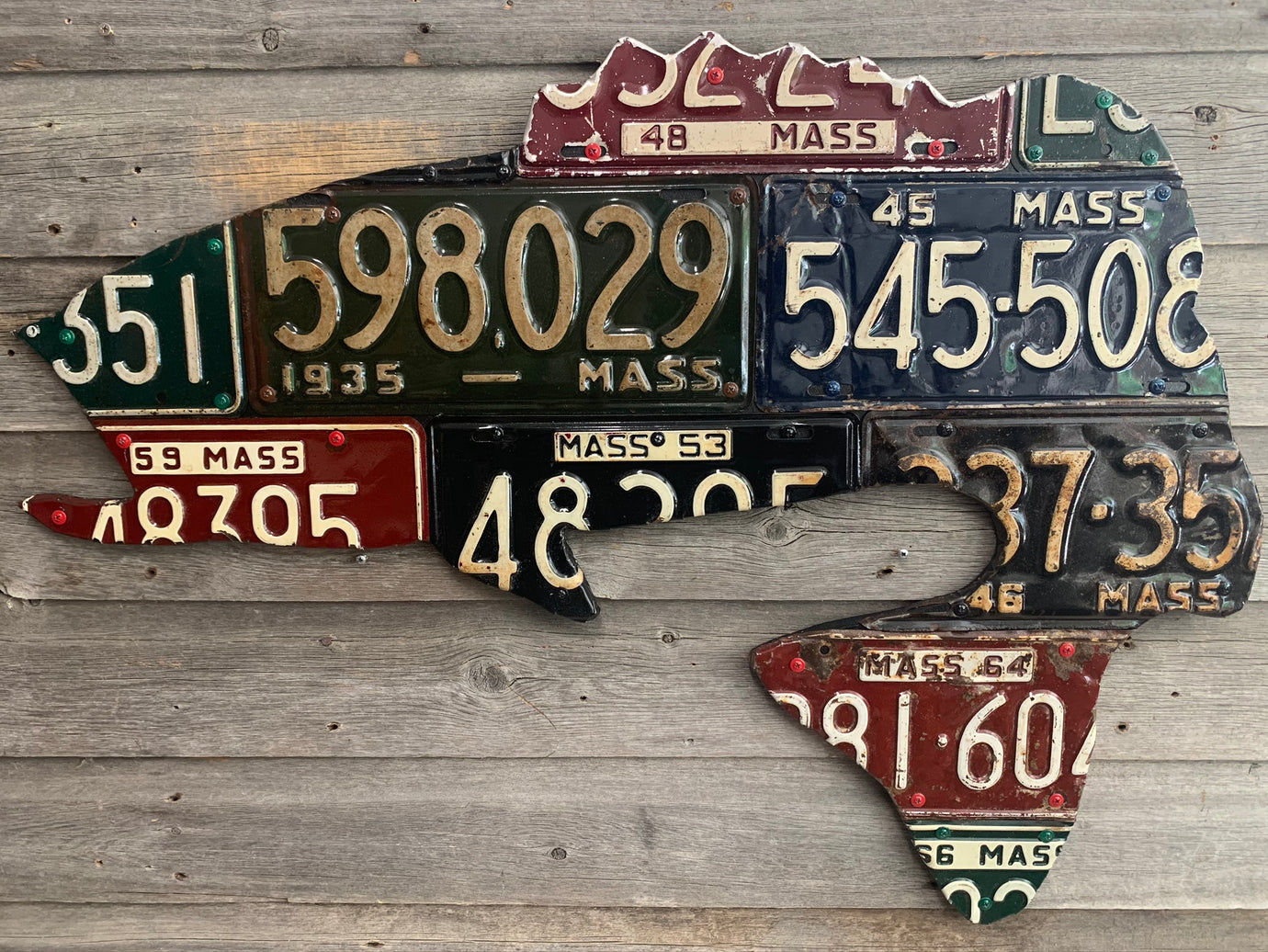 Massachusetts Largemouth Bass Antique License Plate Art