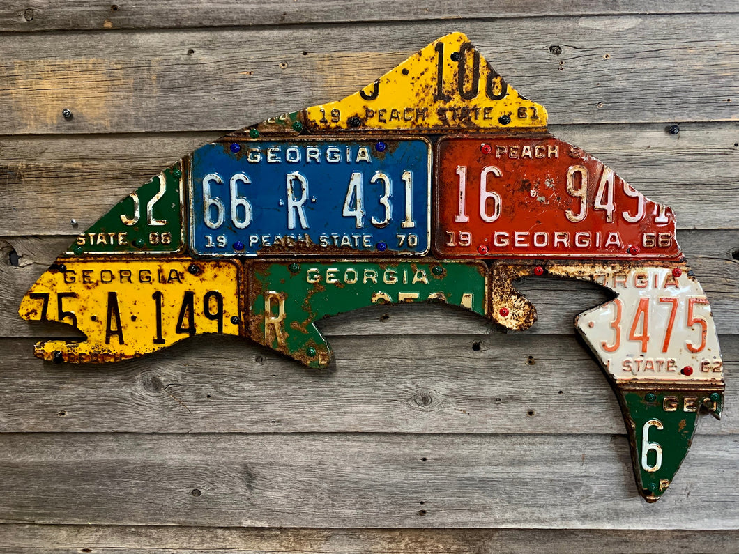 Georgia Antique Trout License Plate Art