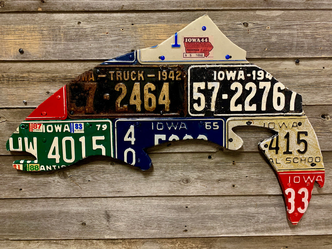 Iowa Antique Trout License Plate Art