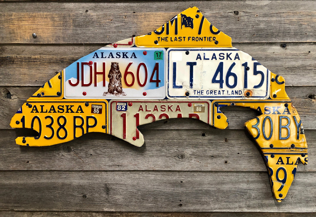 Alaska Rainbow Trout License Plate Art