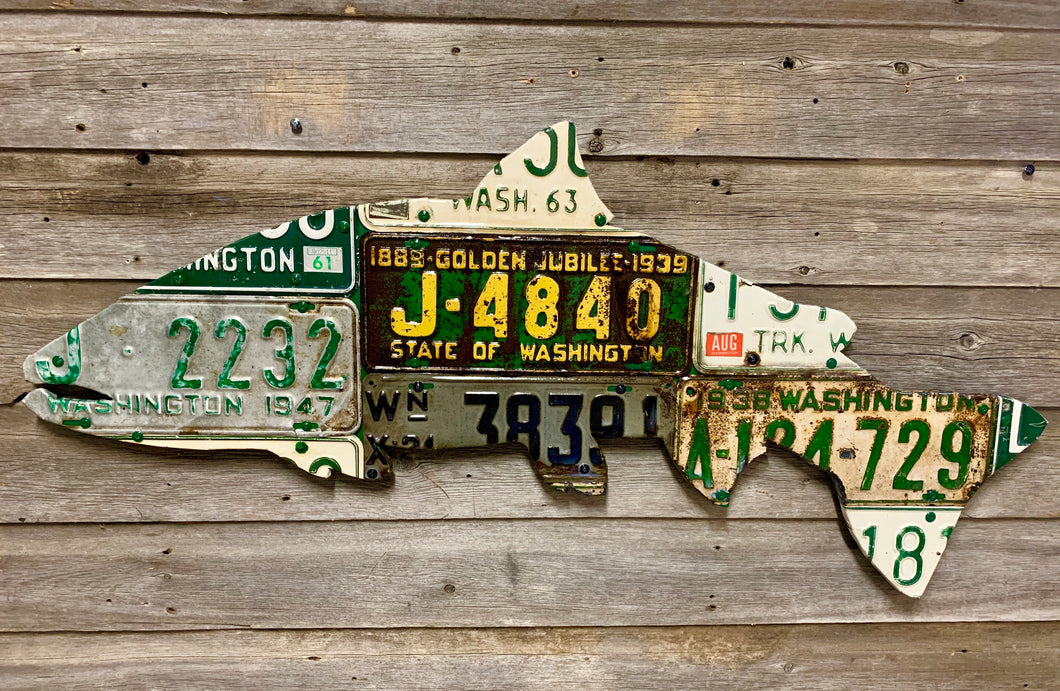 Washington State Antique Steelhead License Plate Art