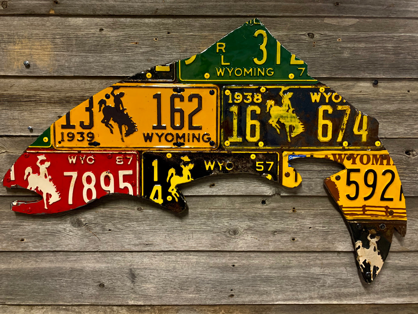Wyoming Antique Trout License Plate Art