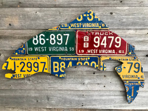 West Virginia Vintage Trout License Plate Art