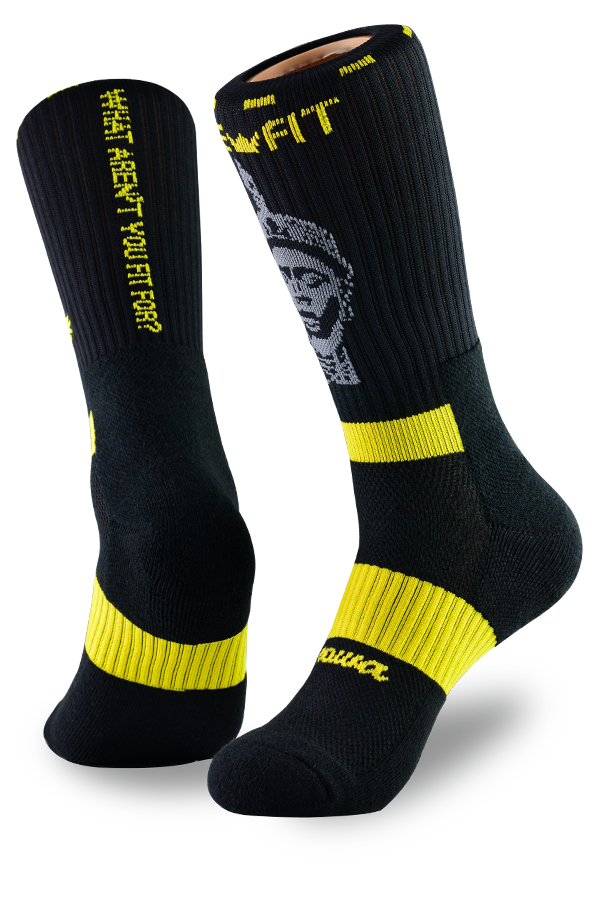 Black and yellow performance socks for athletes and activewear