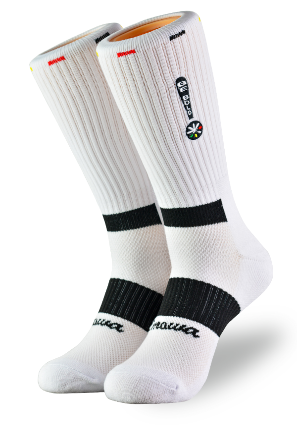 White compression performance socks for athletes and activewear