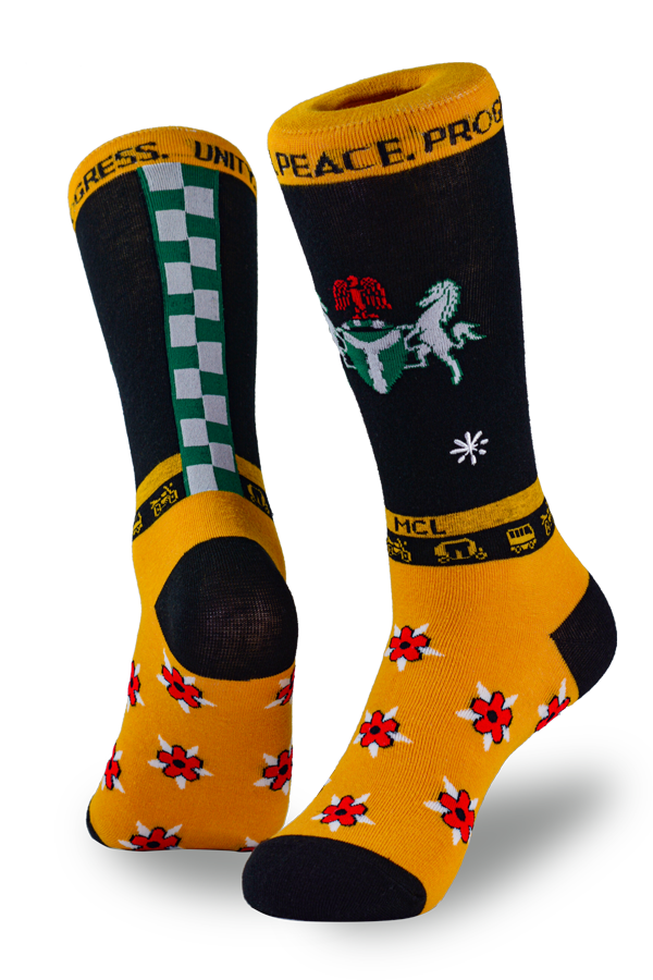 Socks with flowers, horses, and checkers