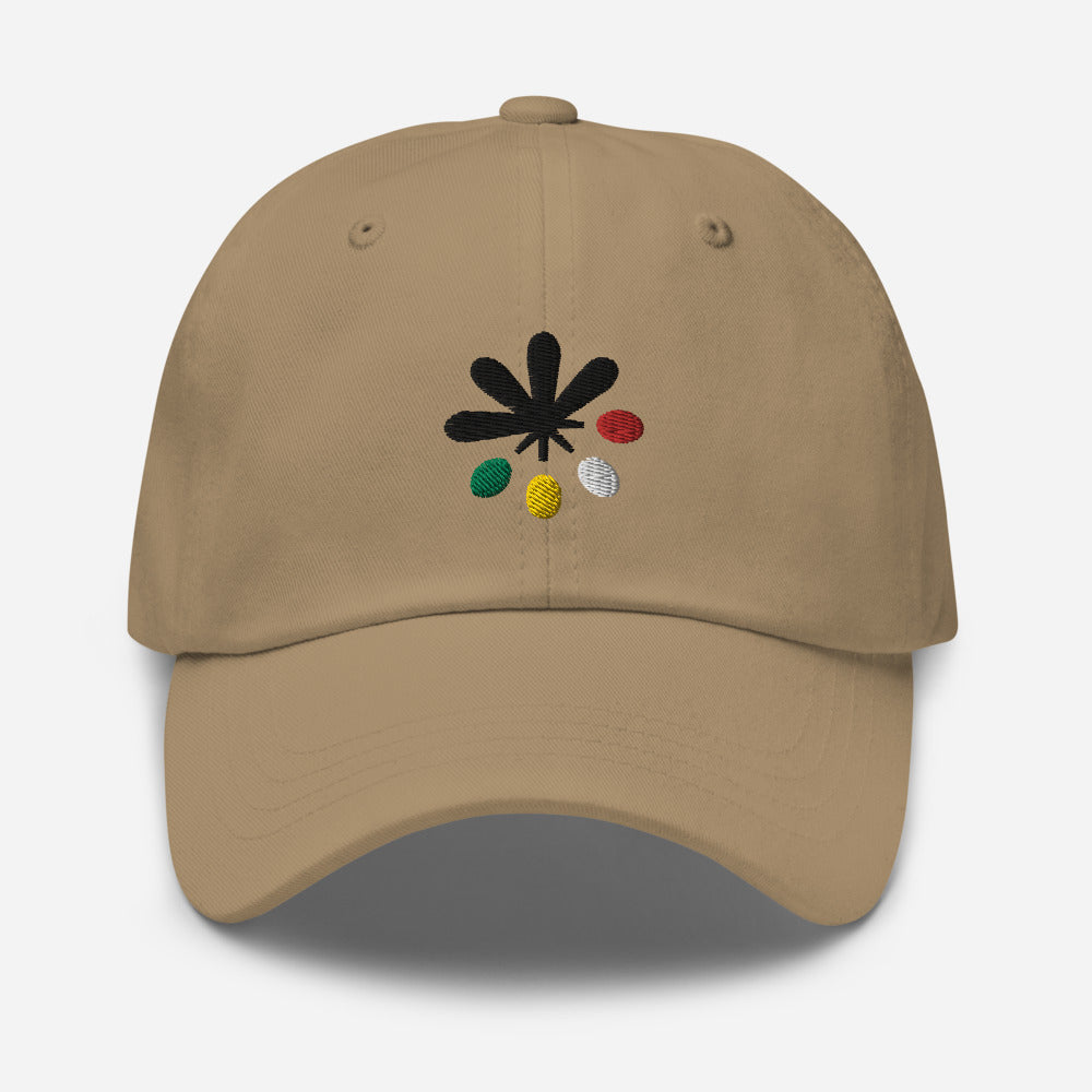 A khaki or brown hat on a white background, with an Emowa logo