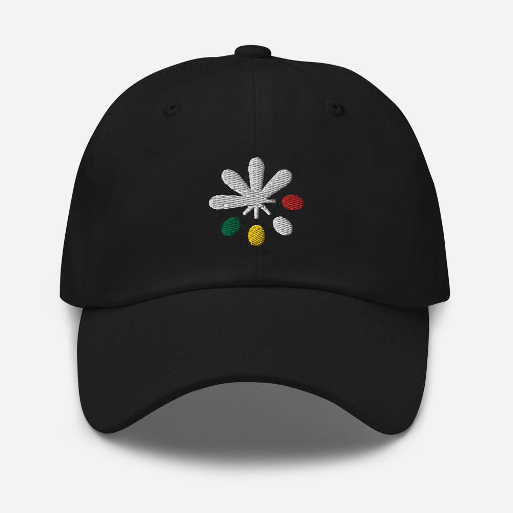 A black hat on a white background, with an Emowa logo