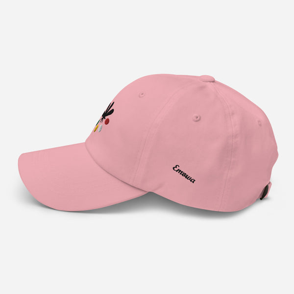 A pink hat on a white background, with an Emowa logo