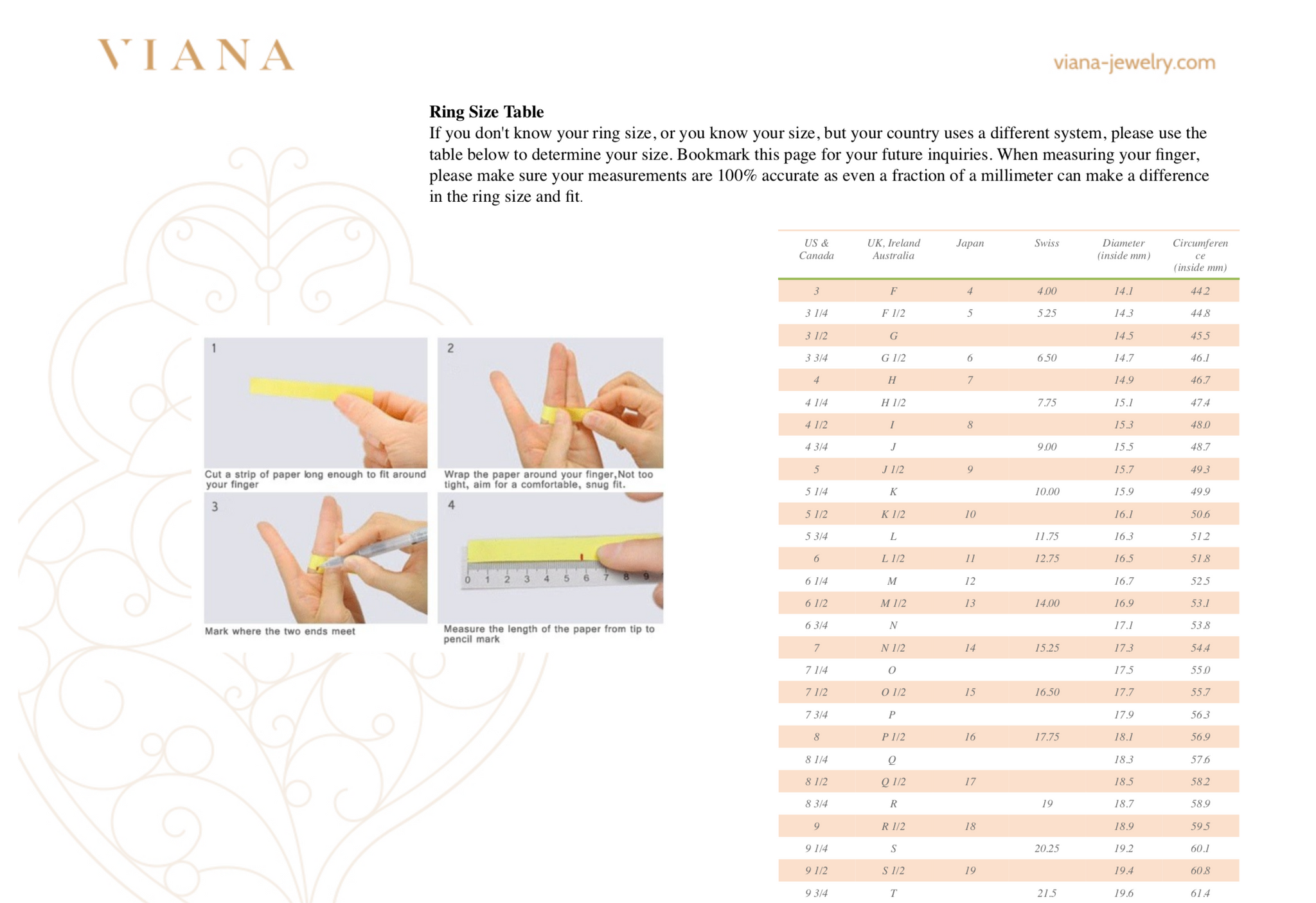 Viana Jewelry Sizing Chart