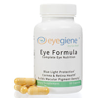 EyeGiene Eye Supplement - Complete Eye Nutrition with blue light protection, vitamins for cornea and retina health and builds macular pigment density. With Vitamins C, C3, E, zinc, copper, lutein, zeaxanthin, bilberry extract, Co-Q-10, resveratrol, taurine