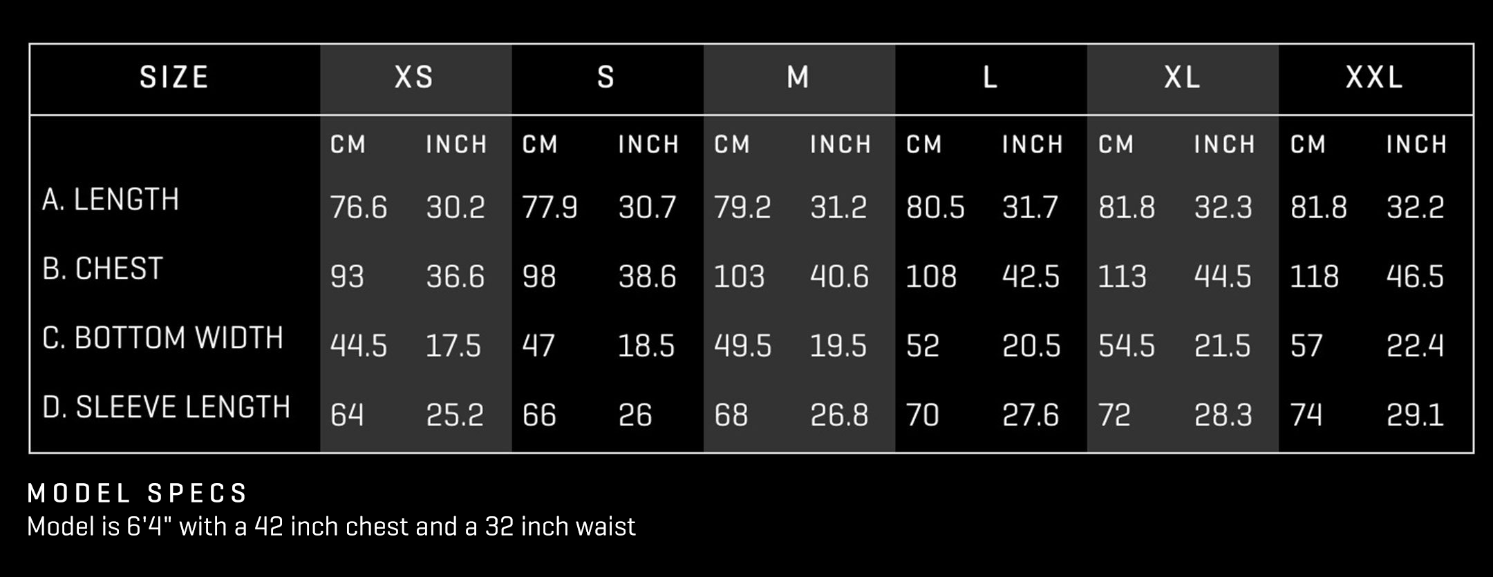 walter sky mh02 hoodie fitting chart