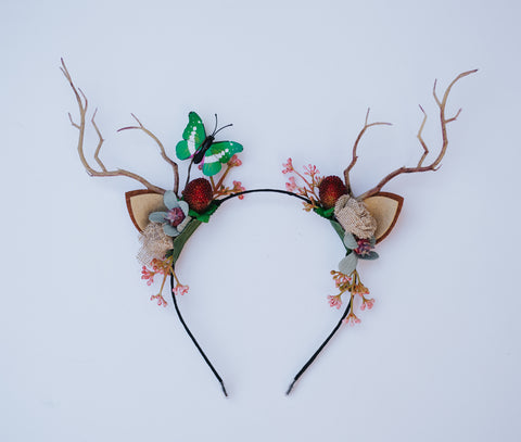 OOAK Deer Antler Headband - green butterfly