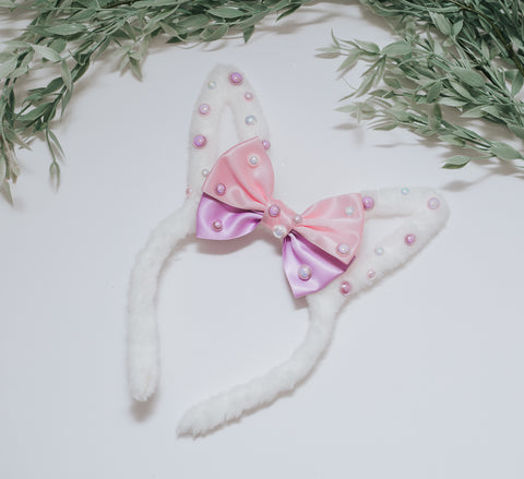 RTS OOAK White fuzzy bunny Ears - with Pink bow and pearl ears