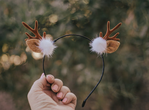 Antler headband with Poms