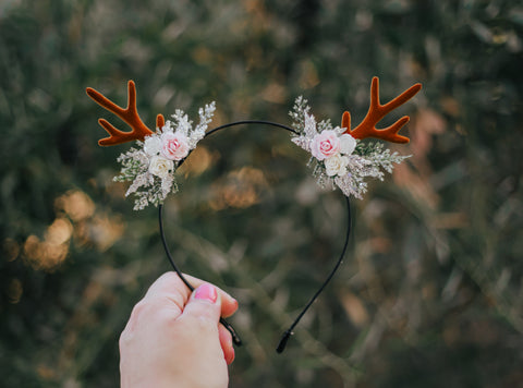 Antler headband with Side florals