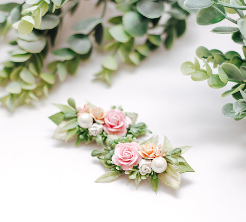 Peach & Pink greenery Piggie Clips