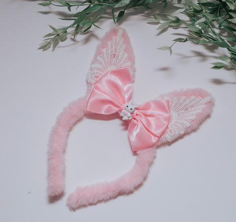 RTS OOAK pink fuzzy Ears with Lace & heart Bunny.