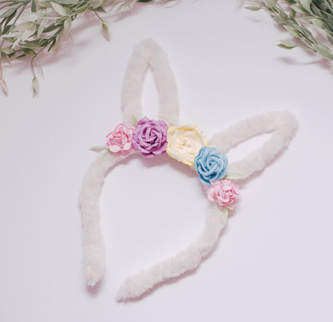 RTS OOAK white fuzzy bunny Ears - pastel florals lrg