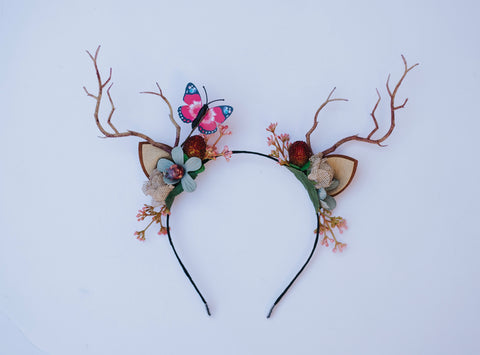 OOAK Deer Antler Headband - hot pink   & blue butterfly