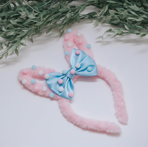 RTS OOAK Pink fuzzy bunny Ears - Blue Satin bow and Pom poms