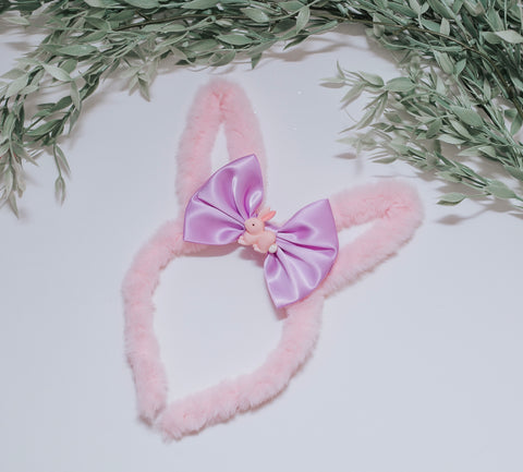RTS Pink fuzzy bunny Ears - with purple bow & pink bunny center