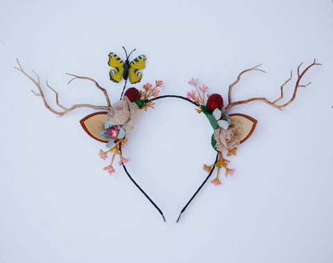 OOAK Deer Antler Headband - Yellow butterfly