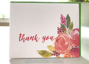Floral A2 folded 'Thank you' Card