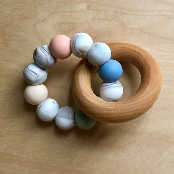 April Showers Teething Ring With Wood