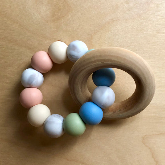 Baby Hues Teething Ring With Wood