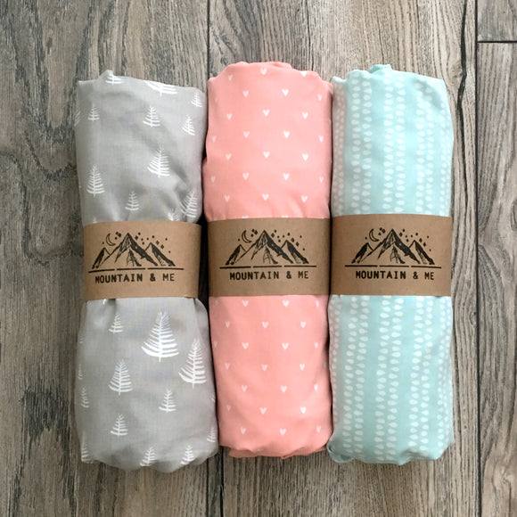 Juniper Gift Set, Spring, crib sheet, fitted sheet, baby, crib, nursery, modern, orgainc, cotton, blue, teal, white, seedling, mountain, gift, shower, birth, newborn, infant, premium, trendy, unique, comfy, soft, eco-friendly, grey, trees, pink, hearts, gift set