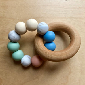 May Flowers Teething Ring With Wood