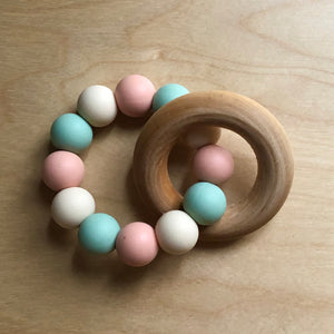 Spring Tulip Teething Ring With Wood