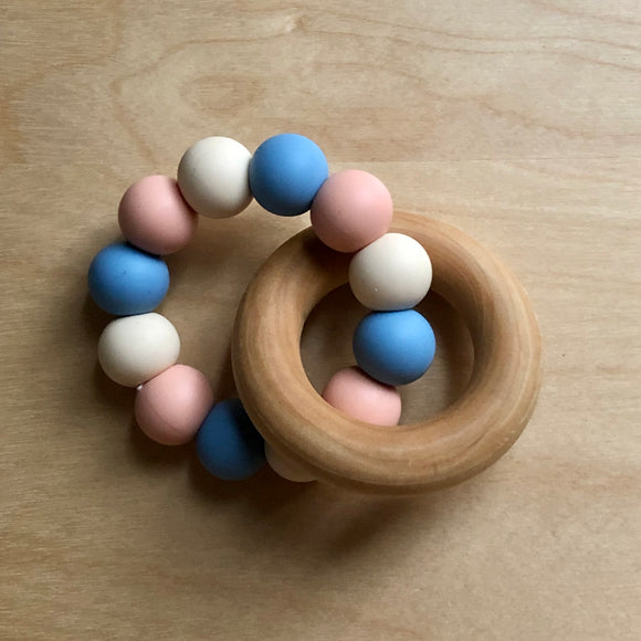 Summer Peach Teething Ring With Wood
