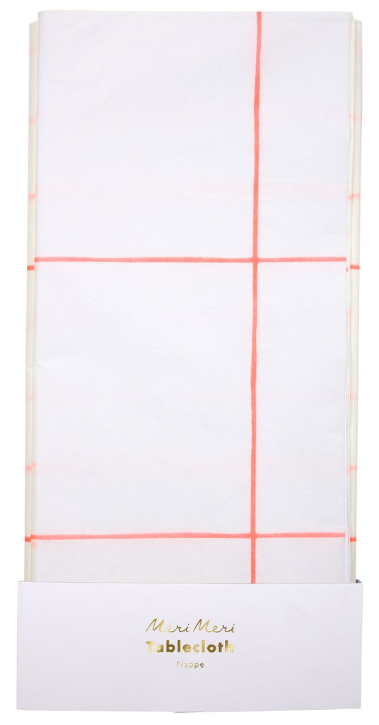 coral grid paper table cloth