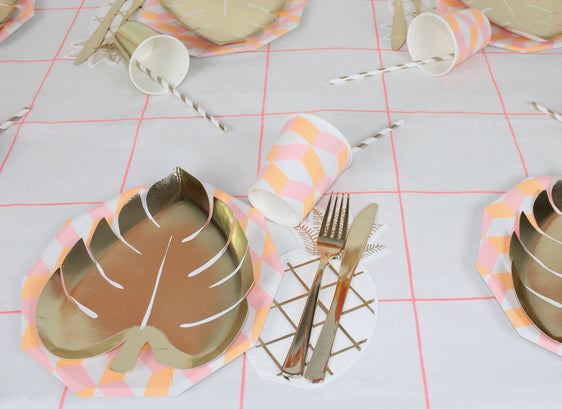 gold leaf tropical plates napkins party decorations