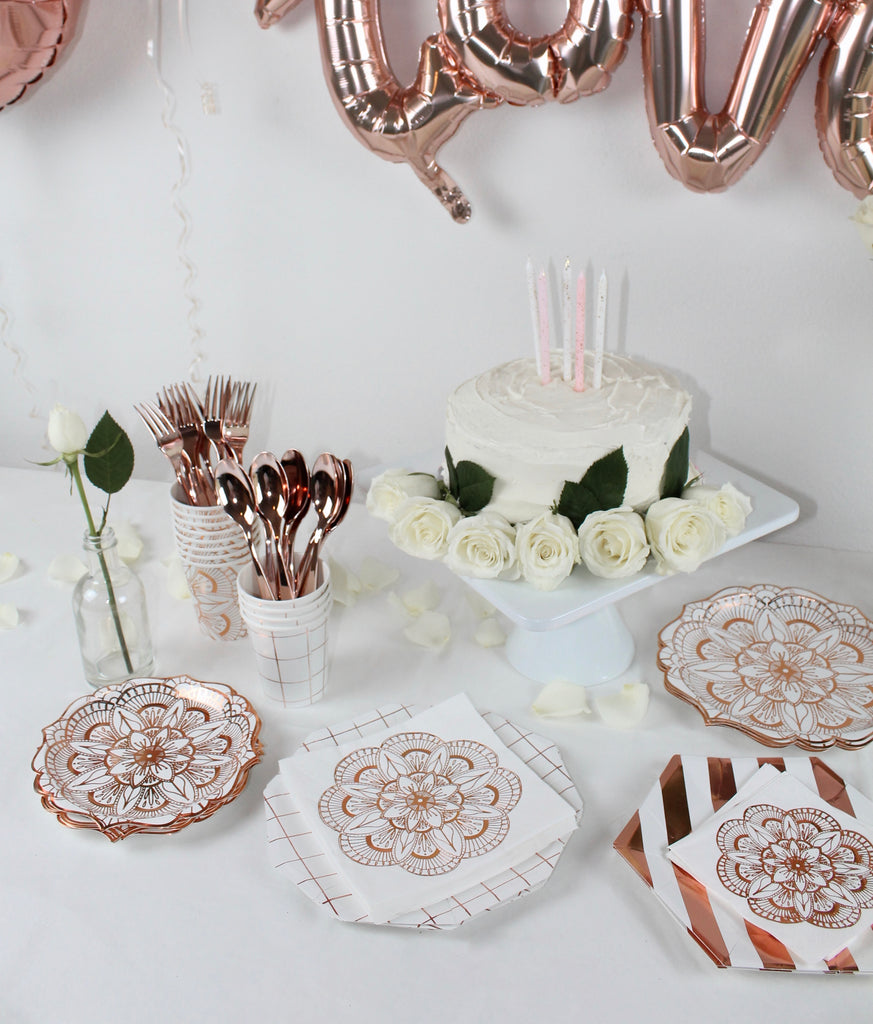 copper rose gold dessert table party decorations