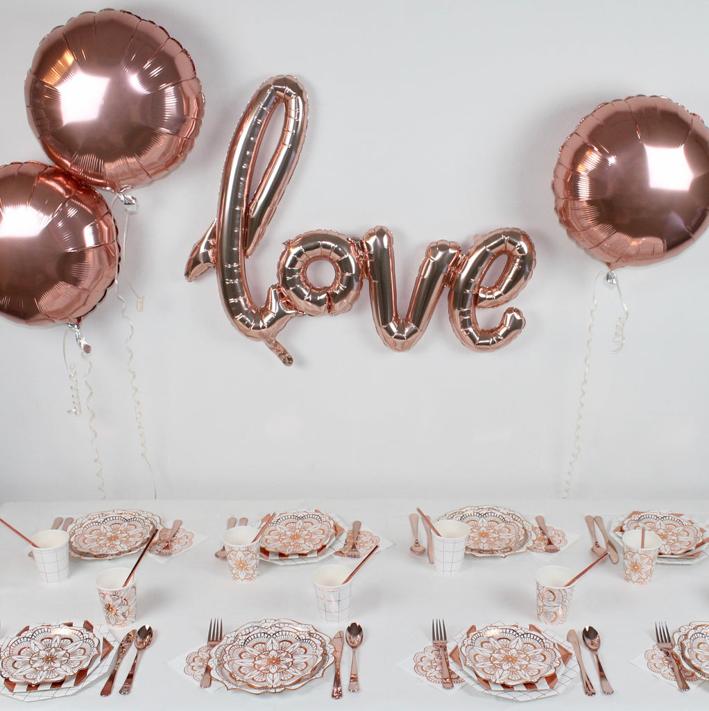 copper rose gold party-in-a-box decorations tablescape