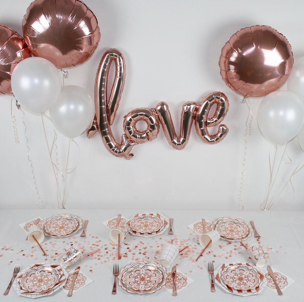 copper rose gold white party decorations party in a box
