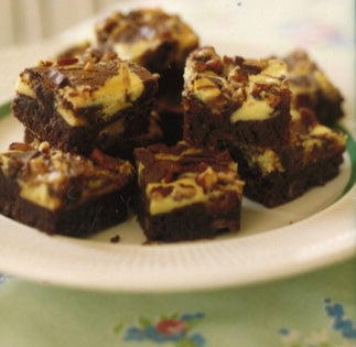 Cream Cheese Swirl Brownies with Heath Bars and Pecans