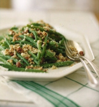 String Beans with Roasted Almonds and Romano Cheese